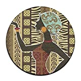 African Tribe Beatuty Round Area Floor Mats Entrance Entry Way Front Door Mat Ground 23.6 Inch Rugs For Decor Decorative Men Women Office