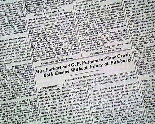 AMELIA EARHART Woman Aviator Airplane CRASH Lands in Pittsburgh 1928 Newspaper THE NEW YORK TIMES, September 1, - Pittsburgh Aviators