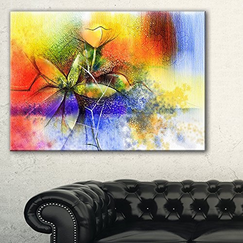 Design Art 1 Piece Abstract Colorful Flower Fusion Large Flower Canvas Wall Art, 60x28'', Blue by Design Art