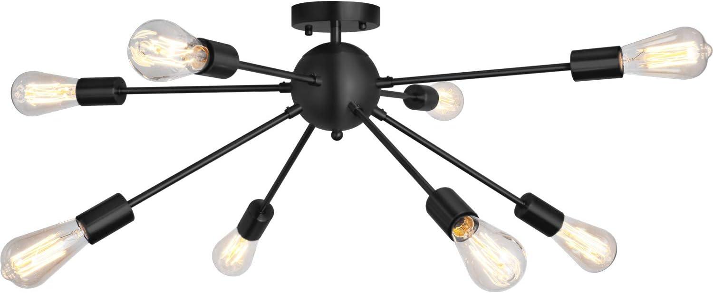 Sputnik Chandelier 8 Lights Modern Semi Flush Mount Ceiling Light Pendant Light Fixture, Black