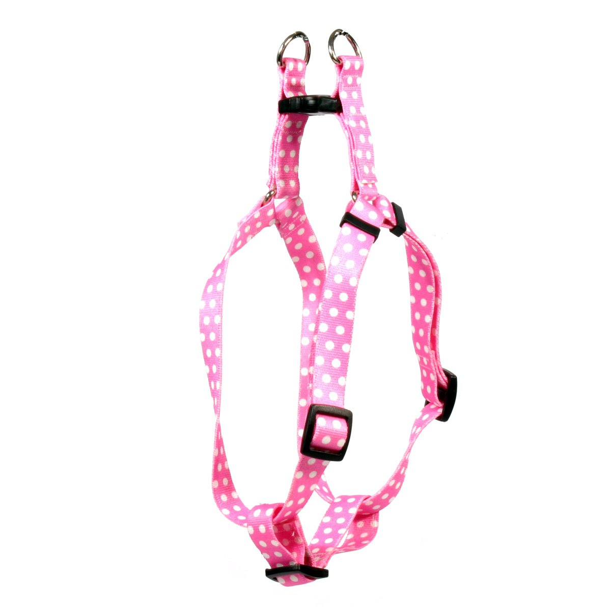 Yellow Dog Design New Pink Polka Dot Step-in Dog Harness, X-Small-3/8 Wide and fits Chest of 4.5 to 9''