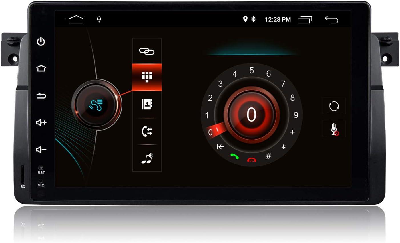 9 Pulgadas Android 10 Autoradio 1 DIN Estéreo de Coche para BMW E46 M3 Rover 75 MG ZT Sedan Soporte AHD Cámara de Vista Trasera GPS Radio Audio Video Bluetooth Am PM WiFi SWC DSP Dab+,2+80GB