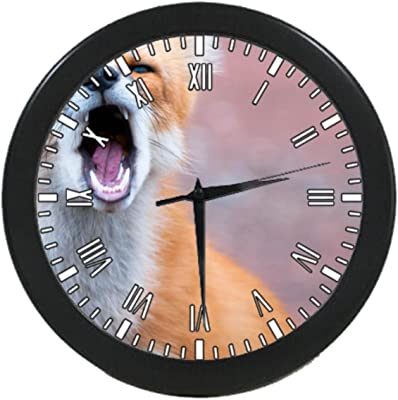 UlanLi fox Black Round Quartz Wall Clock 9.65 inch