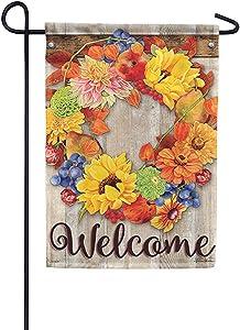 Carson Flag Trends Decorative Fall Garden Flag - Autumn Bounty Wreath Garden Flag - 12.5