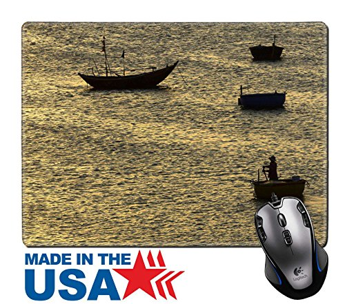"""MSD Natural Rubber Mouse Pad/Mat with Stitched Edges 9.8"""" x 7.9"""" IMAGE ID: 30390505 fisherman padding the traditional boat at village of Mui Ne - Mui Logo Mui"""