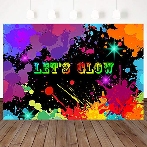 Mehofoto Let's Glow Backdrop Happy Birthday Photography Background Colorful Graffiti Splatter Backdrops 7X5ft Vinyl Birthday Party Banner Decoration Neon Paint Photo Booth Studio Props