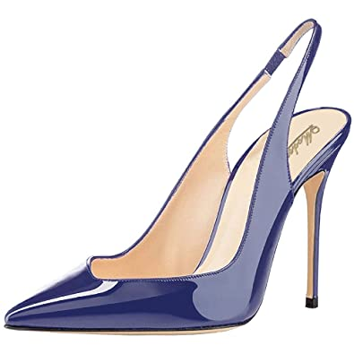 Modemoven Damen Blau Slingback Pumps Spitz Stiletto High Heels