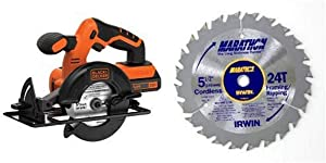 BLACK+DECKER BDCCS20C 20V Max Cordless Circular Saw with IRWIN Tools MARATHON Carbide Cordless Circular Saw Blade 5 1/2-Inch 18T Carded (14011)