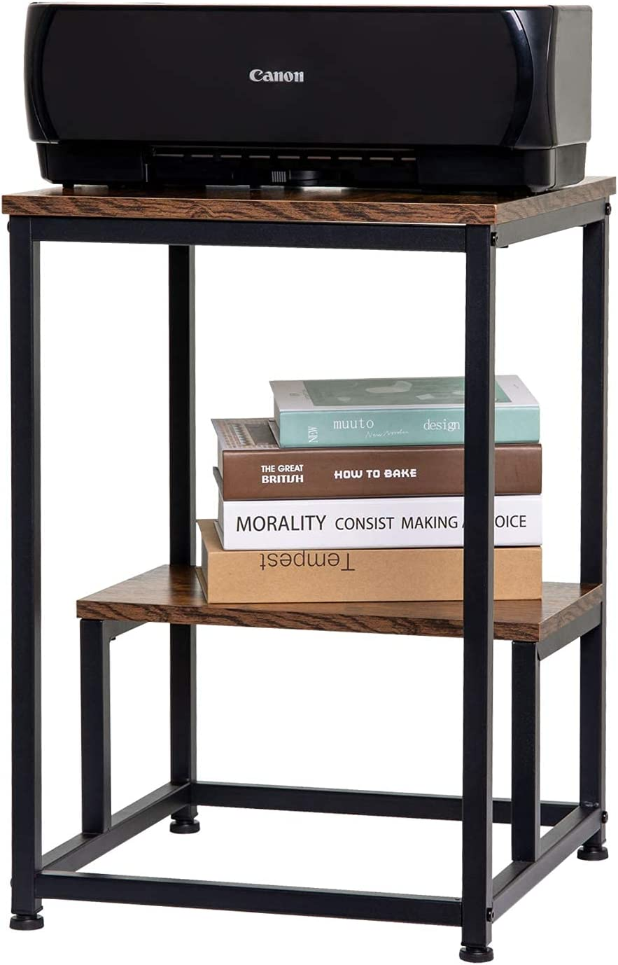 KSWIN Industrial End Table, Square Side Table with 2-Tier Storage, Metal Frame Printer Stand for Home Office 16