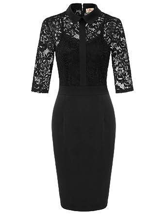 3c27a2f55c5 Women s Lace Dress Half Sleeve Bodycon Cocktail Party Wedding Dresses Black  S