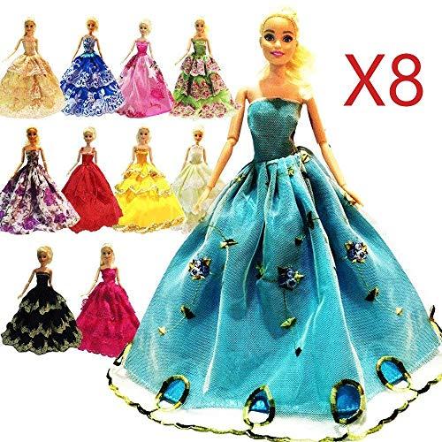 ZHIHU 8 Pcs Barbie Handmade Fashion Wedding Party Gown Dress