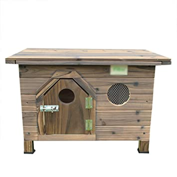 YANQ PE casa casa de Perro de Madera carbonatada de Interior al Aire Libre Cubierta de