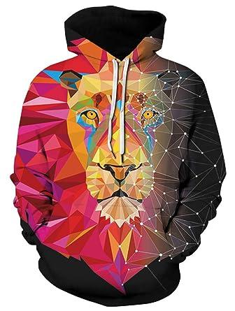 00ff2c2df986 ENLACHIC Men s Athletic 3D Animal Lion Geo Printed Hoodies Sweatshirts Long  Sleeves Tops ...