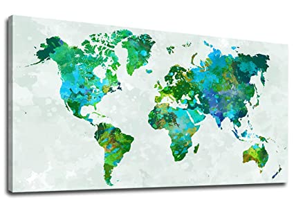 Abstract Map Of The World.Amazon Com Yearainn Canvas Wall Art Green World Map Painting