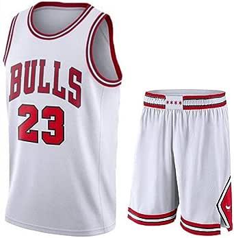 Camiseta Baloncesto Jersey NBA Hombres De Michael Jordan # 23, Transpirable Resistente Al Desgaste Bordó La Camiseta De La Camiseta + Pantalón Corto, XS-XXL, FHI012IHF