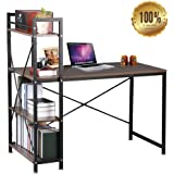 Dripex Steel Frame Wooden Home Office Table with 4 Tier DIY Storage Shelves - Computer PC Laptop Desk Study Table Workstation for Home Office and More