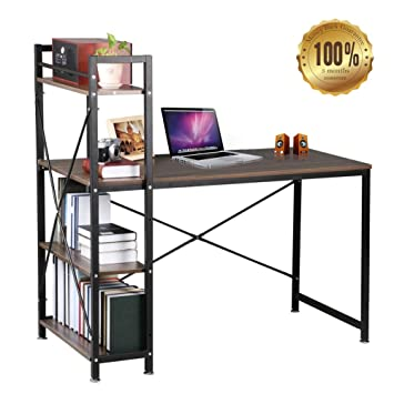 home office computer 4 diy. dripex steel frame wooden home office table with 4 tier diy storage shelves computer pc diy o