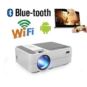 LCD Android Proyector Inalámbrico Portátil Bluetooth Smart LED Mobile Home Cinema Proyectores de Cine al Aire Libre Soporte 1080P con HDMI USB VGA AV ...