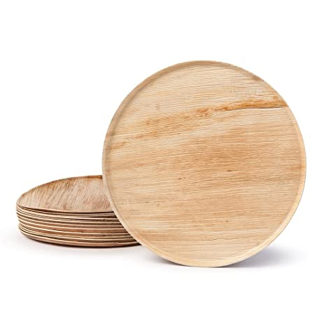 BIOZOYG DTW05569 plato para pizza de hoja de palma, 20 uds, redondo, Ø 32 cm, biodegradable