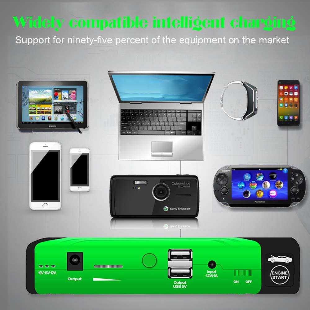 QLF - Cargador portátil para Arranque de Coche, 800 A, Pico 16800 mAh, batería de Emergencia con Tres Cabezales USB de Salida de Carga: Amazon.es: Coche y ...