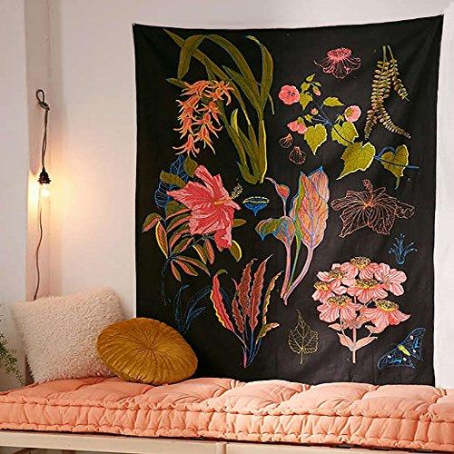 PYHQ Flowers Black Tapestry Wall Hanging Urban Hippie Bohemi