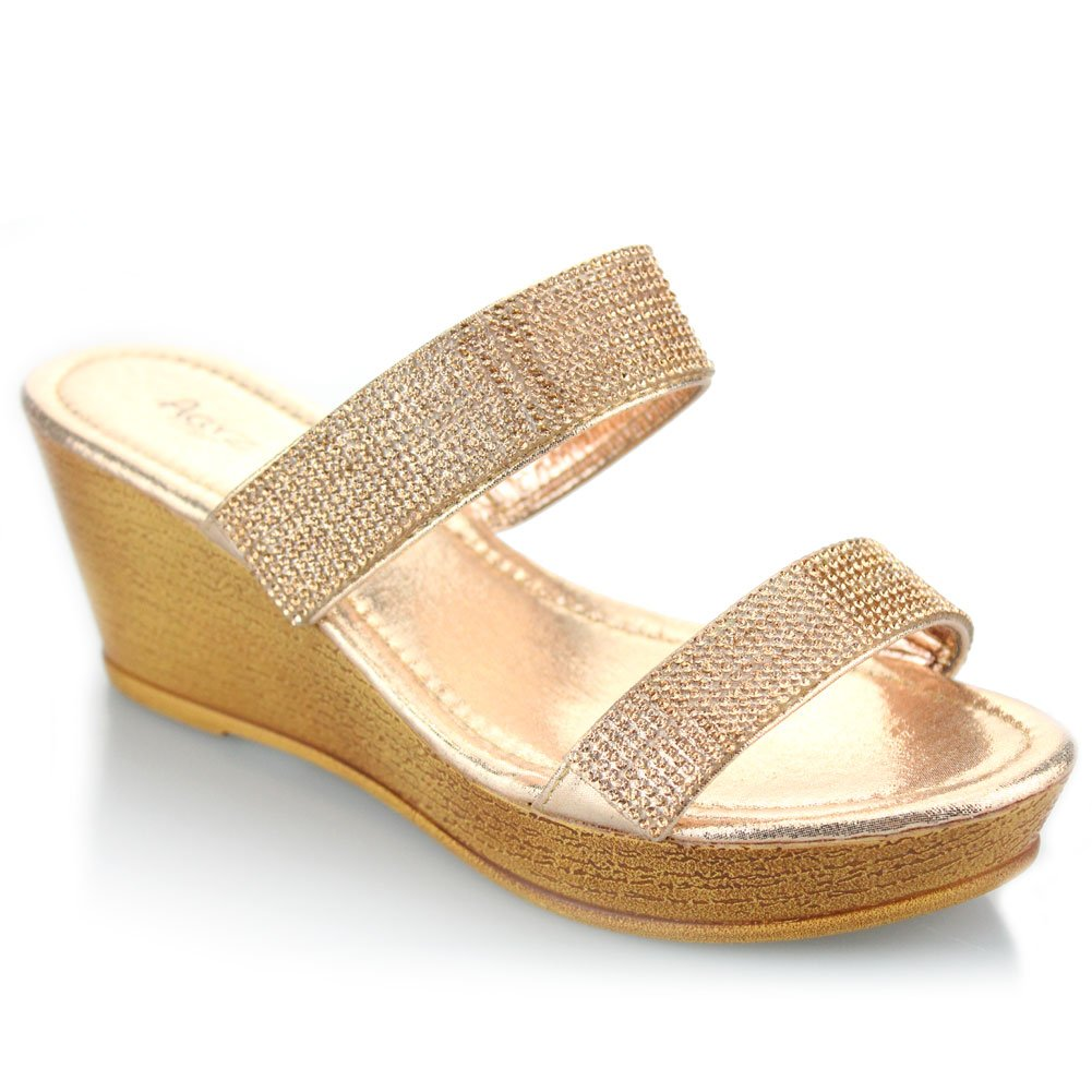 76011bda5 AARZ LONDON Women Ladies Double Strap Diamante Slip On Wedge Heel Evening  Casual Party Prom Wedding Champagne Sandals Shoes Size 9  Amazon.co.uk   Shoes   ...