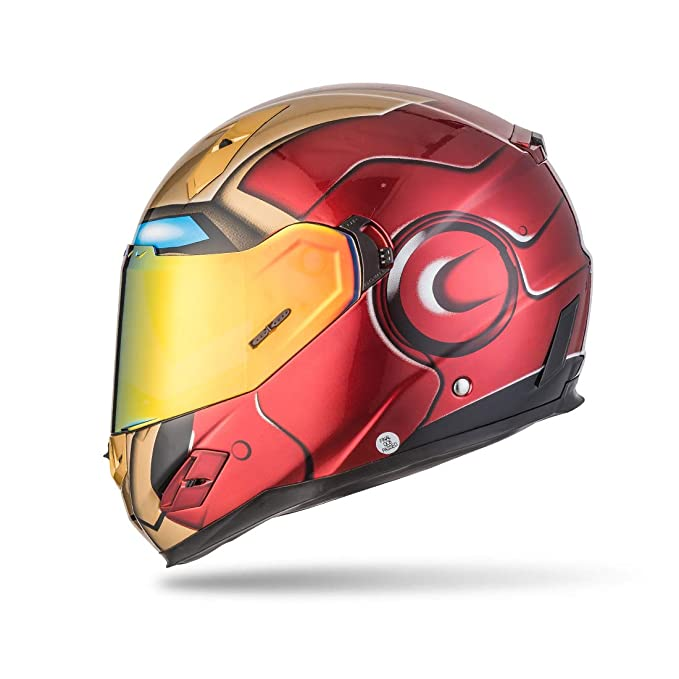 Amazon.com: NENKI Full Face Iron Man Motorcycle Helmet For Adult and Youth Street Bike with Iridium Red Visor and Sun Shield DOT Approved(Small): ...