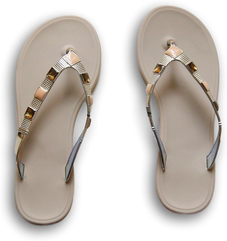 West Loop Womens Rhinestone Flip Flop Sandals Brown