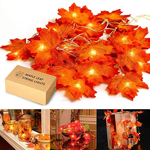 MiMoo Thanksgiving, Maple Leaf 20LED 6.56ft Battery Powered Harvest Fall Garlands String Light -