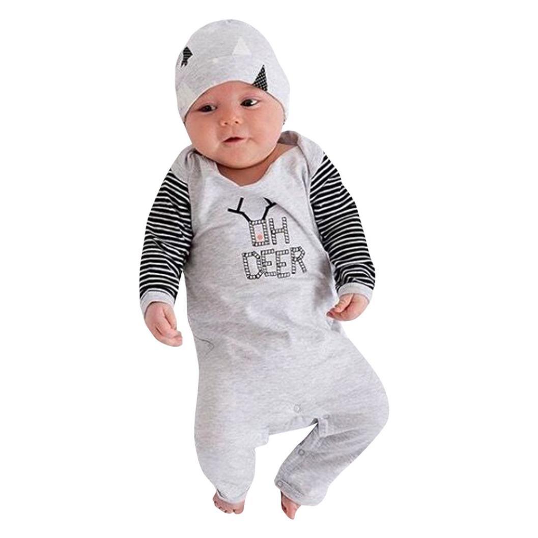 Hirolan Neugeborene Strampler Weihnachten Babykleidung Säugling Krabbelhose Baby Streifen Lange Ärmel Strampler Beschriftung Overalls Grau Kappe Baumwolle Kleider Set