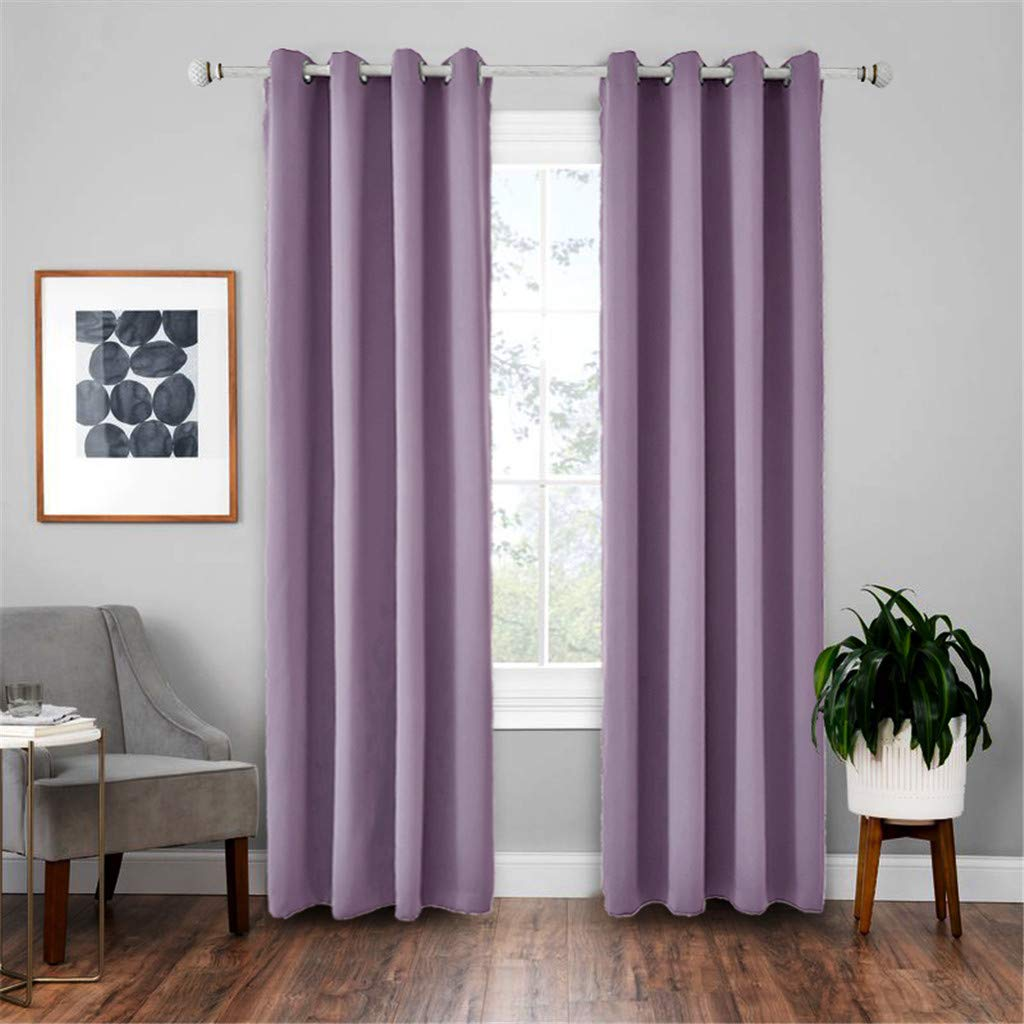 Sheer Curtains for Bedroom,Lucoo Window Kitchen Shower Curtain,2PC Blackout Cloth Insulation Curtain Nordic Style Solid Color Curtain by Lucoo Curtain