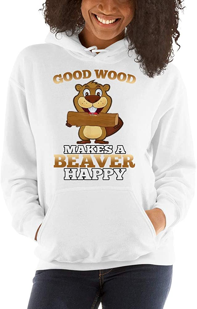 Pullover Hoodie Good Wood Makes A Beaver Happy lucoin