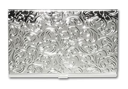 Amazon metal damask embossed business card case silver metal damask embossed business card case silver colourmoves