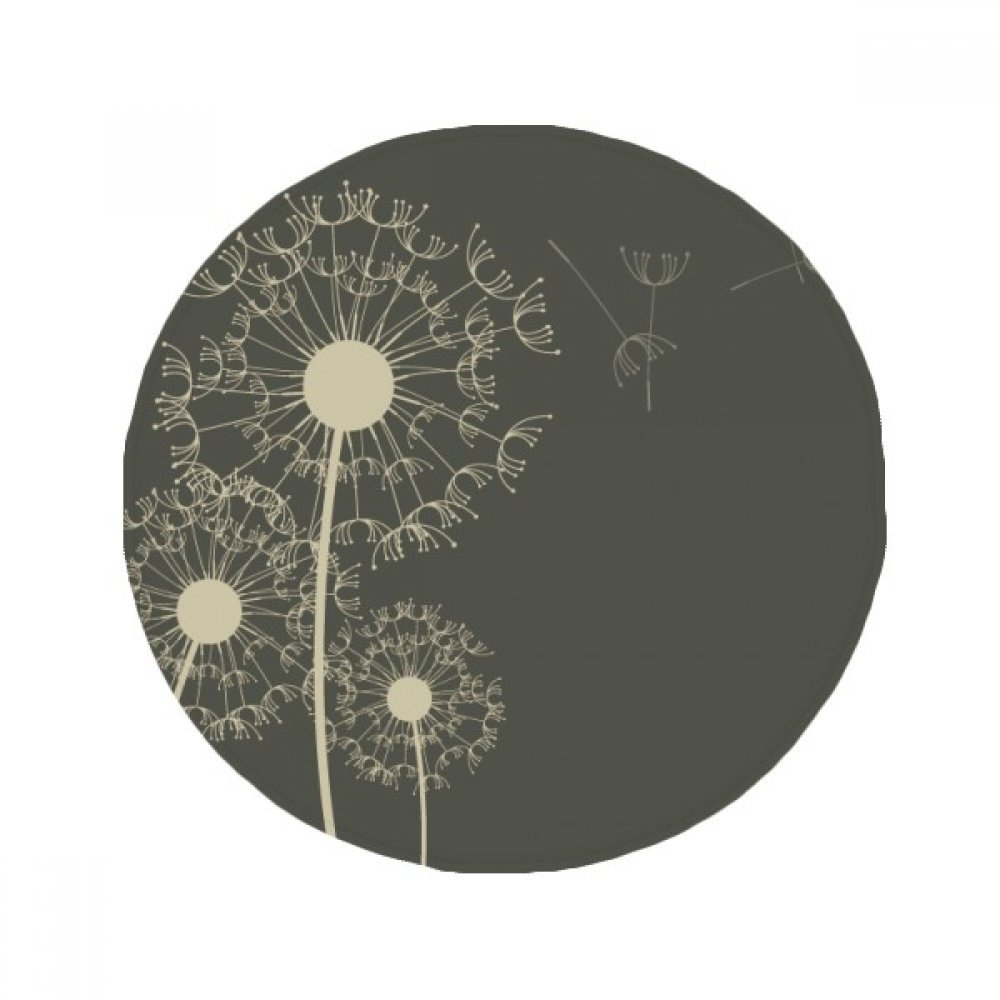 60X60cm DIYthinker Dandelion Flowers Plants Illustration Anti-Slip Floor Pet Mat Round Bathroom Living Room Kitchen Door 60 50Cm Gift