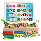 Elloapic Adjustable Writing Black White Drawing Board Sketchpad with 1 to 100 Magnetic Numbers Sticks Maths Counting Early Learning Education Toy