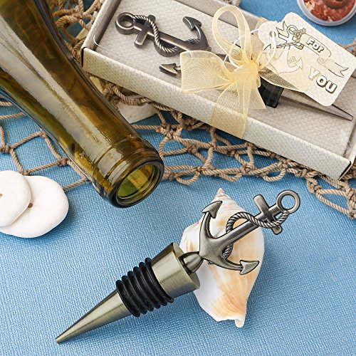 60 Stylish Brass Anchor Design Metal Bottle Stoppers by Fashioncraft (Image #1)