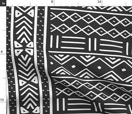 Amazoncom Spoonflower African Mudcloth Fabric Tribal Print Black