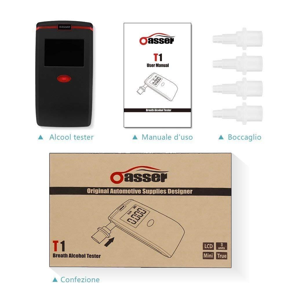 oasser Etilometro Portatile Alcool Tester Digitale T1 con 4 Boccagli Schermo LCD Sensore Semiconduttore