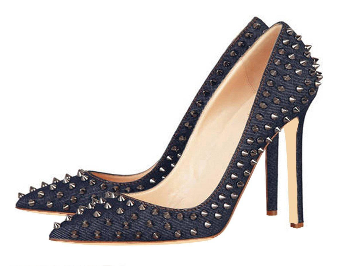 Jiu du Women's High Heel for Wedding Party Pumps Fashion Rivet Studded Stiletto Pointed Toe Dress Shoes B0791883X8 US10.5/CN44/Foot long 27cm|Blue Denim