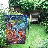 "JC-Dress Garden Flag Colorful Octopus Outdoor Flag Deocration 12""x18"""