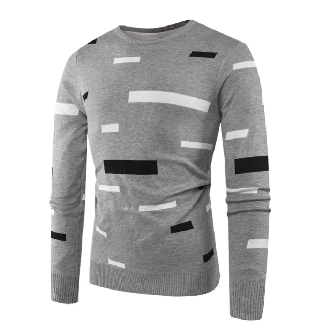LinkShowMen Spring//Autumn Stripes Color Stitch Crew Neck Knit Pullover Sweater