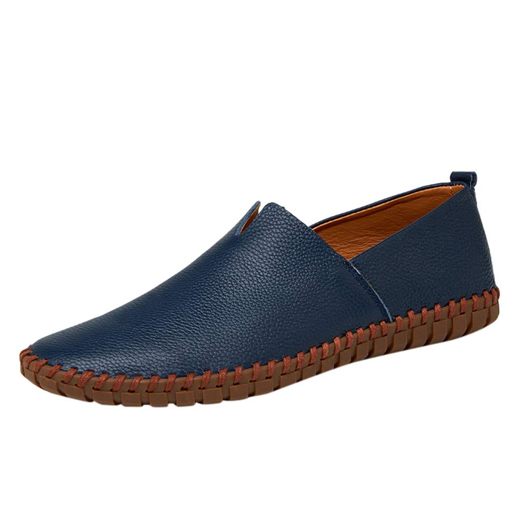 Men's Leather Loafers Non-Slip Casual Fashion Driving Boat Formal Business Shoes (US:9, Dark Blue) by Yihaojia Men Shoes