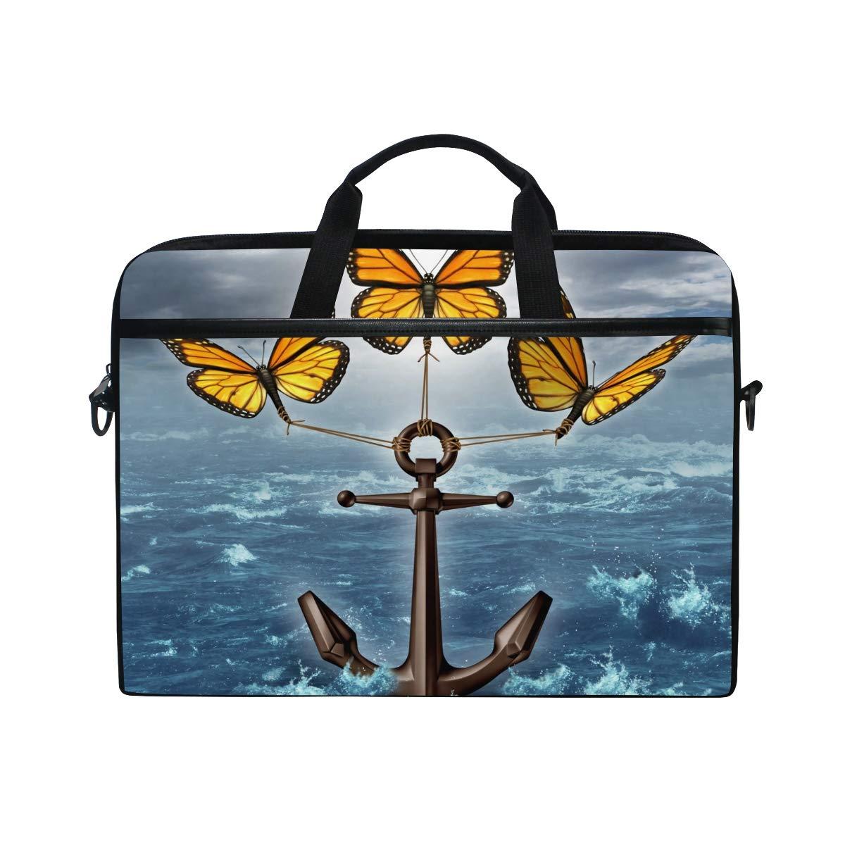 Hunihuni Butterfly Anchor - Maletín (con para portátil (con Maletín asa y Correa para el Mango), diseño de Ancla 3e9314