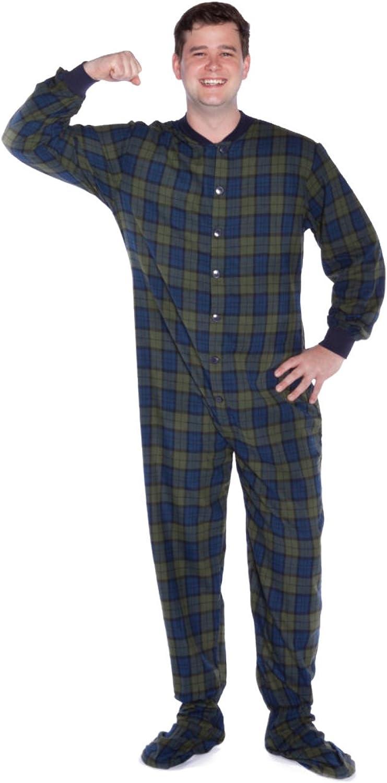 Big Feet PJs Navy Blue Cotton Jersey Knit Adult Footed Pajamas Sleeper