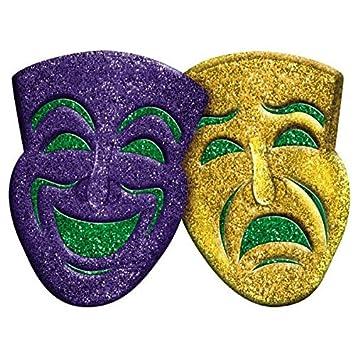 Amazon.com: Amscan 3D Glitter Comedy & Tragedy Mardi Gras Party ...