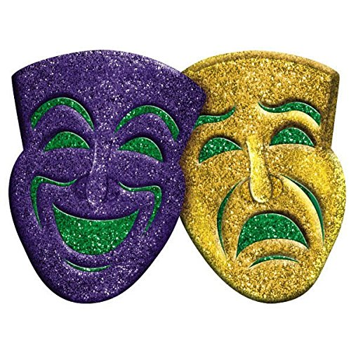 Amscan 3D Glitter Comedy & Tragedy Mardi Gras Party Mask Wall Decoration, Multi Color, 18.5 x 22