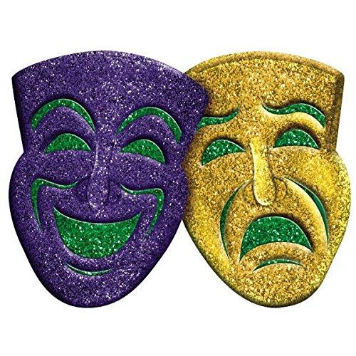 Mardi Gra Decorations (Amscan 3D Glitter Comedy & Tragedy Mardi Gras Party Mask Wall Decoration, Multi Color, 18.5 x 22