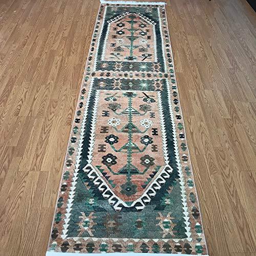 (Home Boheme Turkish Kilim Design Runner Rug for Hallway Entryway Kitchen Living Room 3'x10' (Actual 2.6'x10.4) (Denizli))