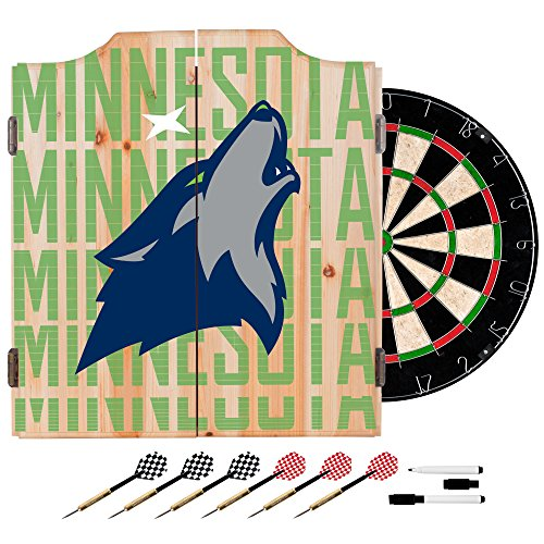 Trademark Gameroom NBA7010-MT3 NBA Dart Cabinet Set with Darts & Board - City - Minnesota Timberwolves by Trademark Global