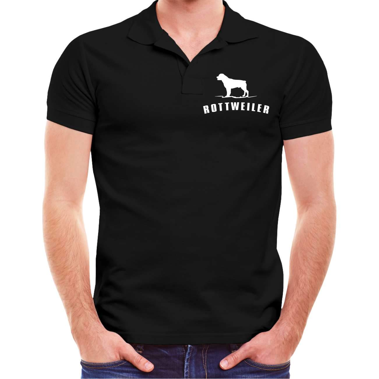 M/änner und Herren Polo Shirt Rottweiler BOSS mit R/ückendruck